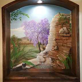 73 x 83 inch tromp l'oeil window. Wood frame also painted.  Tempe, AZ