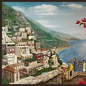 32 x 52 inch Amalfi Coast, Italy. Included client's four children.  Vancouver,  Canada
